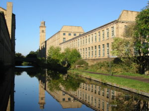 Salt's Mill viewed from Leeds-Liverpool canal